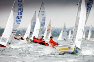 Aarhus, Denmark: 2010 SAP 505 WORLD CHAMPIONSHIP - day one of the regatta was sailed in windy conditions with many break-downs. 126 competitors are competing for the World Championship trophy at the regatta which is held at Kaloe Vig Boat Club, just outside Aarhus, Denmark.