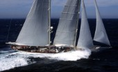 Adela, The Atlantic Challenge Cup 1997 presented by Rolex. Organised jointly by the New York Yacht Club and the Royal Yacht Squadron this superyacht race started from Ambrose Light (New York) and finished off The Lizard, Cornwall, UK.