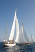 Skylark takes the lead against Argyll on the first up wind leg of the Blue Bird Cup on challenge day at the Voiles de Saint Tropez 2011