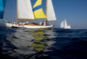 Its close racing between Skylark and Argyll in the fickle winds off Sant Tropez during the Blue bird Cup 2011